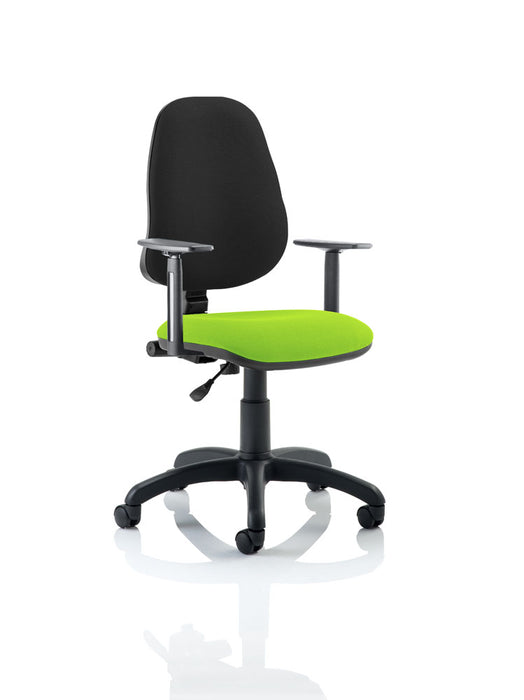 Eclipse I Lever Task Operator Chair Black Back Bespoke Seat With Height Adjustable Arms