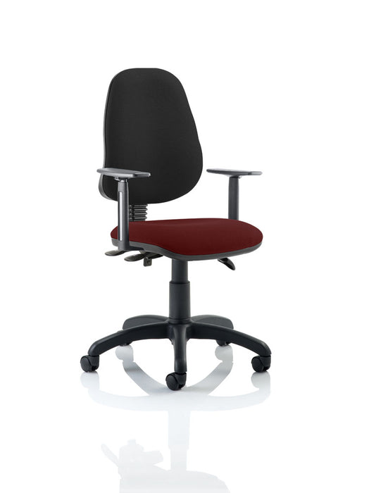 Eclipse III Lever Task Operator Chair Black Back Bespoke Seat With Height Adjustable Arms