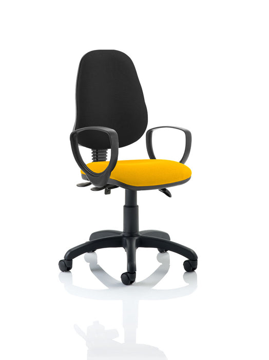 Eclipse III Lever Task Operator Chair Black Back Bespoke Seat With Loop Arms