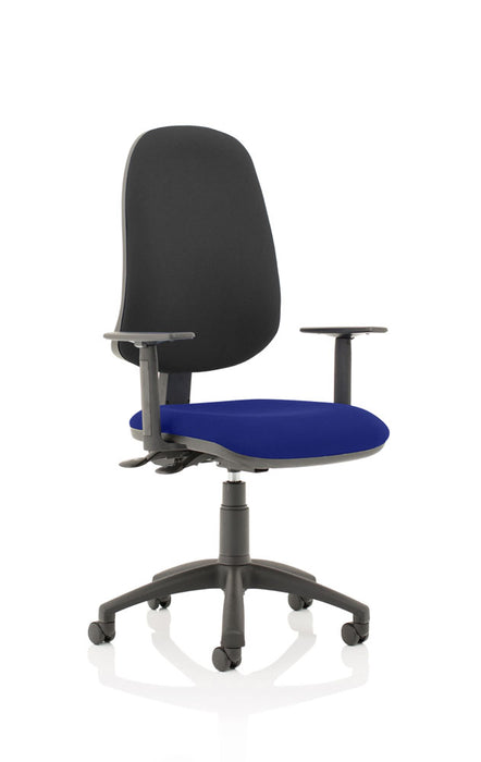 Eclipse XL Lever Task Operator Chair Black Back Bespoke Seat With Height Adjustable Arms