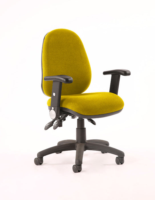 Luna III Lever Task Operator Chair Bespoke With Height Adjustable And Folding Arms