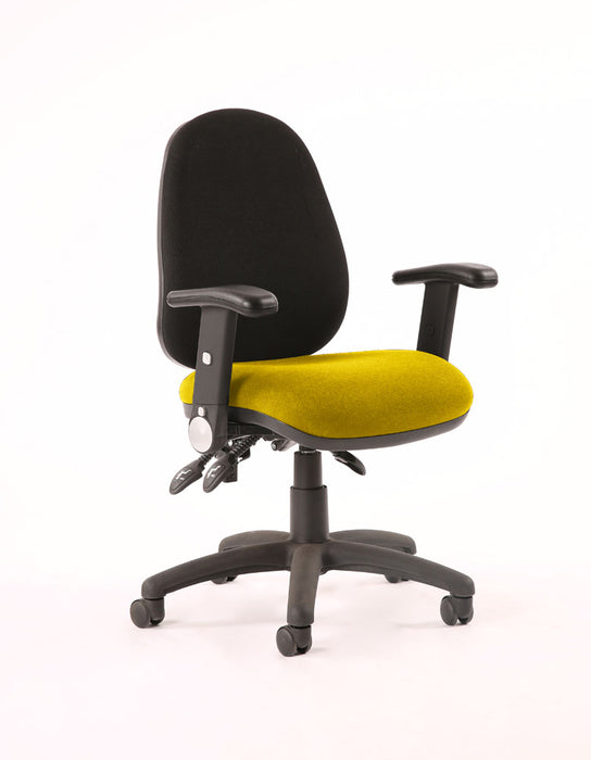 Luna III Lever Task Operator Chair Black Back Bespoke Seat With Height Adjustable And Folding Arms