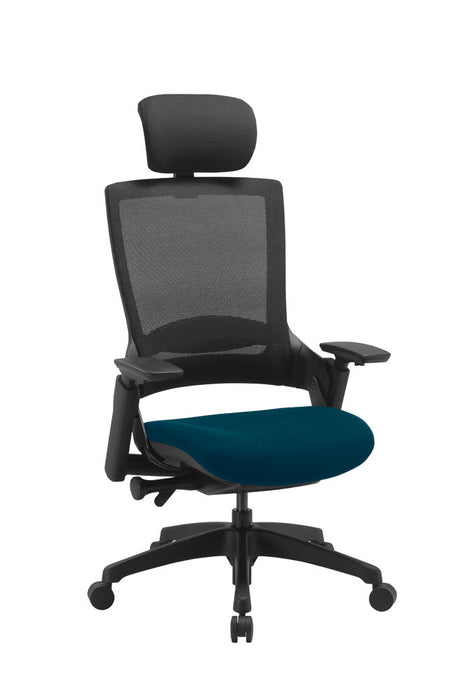 "Molet ""Task Exec"" Black Frame Black Mesh Back Chair With Black Fabric Headrest With Bespoke Colour Seat"