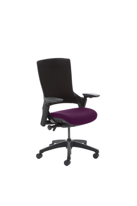 "Molet ""Task Exec"" Black Frame Black Fabric Chair With Bespoke Colour Seat"