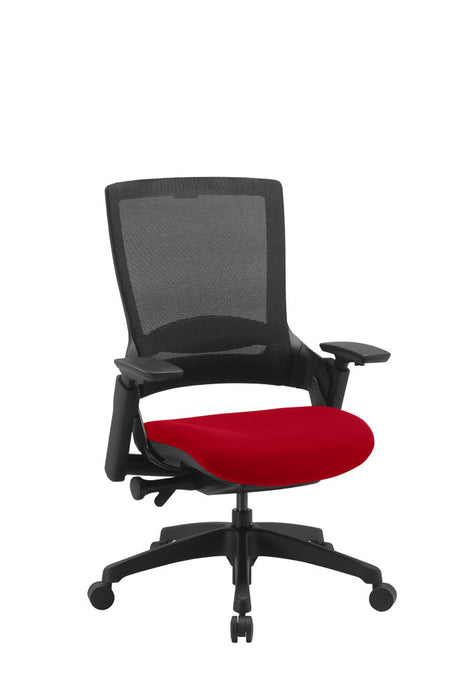 "Molet ""Task Exec"" Black Frame Black Mesh Back Chair With Bespoke Colour Seat"