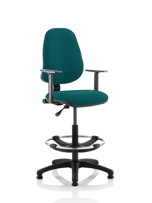 Eclipse I Lever Task Operator Chair Fully Bespoke Colour With Height Adjustable Arms with Hi Rise Draughtsman Kit