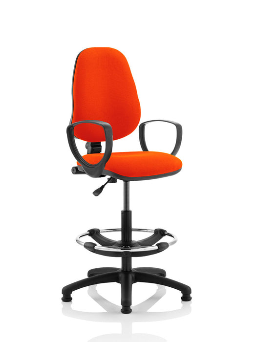 Eclipse I Lever Task Operator Chair Fully Bespoke Colour With Loop Arms with Hi Rise Draughtsman Kit