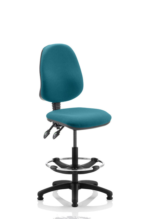 Eclipse II Lever Task Operator Chair Kingsfisher Fully Bespoke Colour With Hi Rise Draughtsman Kit