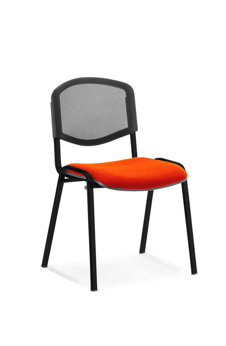 ISO Black Frame Mesh Back Bespoke Colour Fabric - 4 Chairs