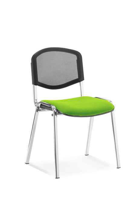 ISO Chrome Frame Mesh Back Bespoke Colour Fabric - 4 Chairs