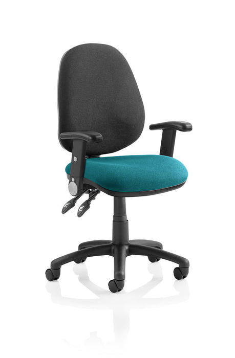 Luna II Lever Task Operator Chair Black Back Bespoke Seat With Height Adjustable And Folding Arms