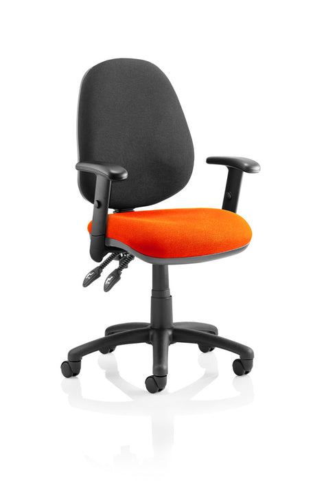 Luna II Lever Task Operator Chair Black Back Bespoke Seat With Height Adjustable Arms