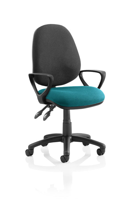 Luna II Lever Task Operator Chair Black Back Bespoke Seat With Loop Arms