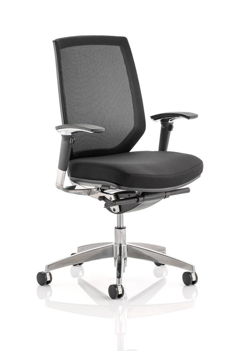 Midas Task Operator Chair Black Fabric Black Mesh Back With Arms