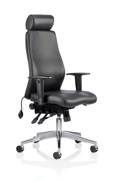 Onyx Ergo Posture Chair Black Bonded Leather With Arms