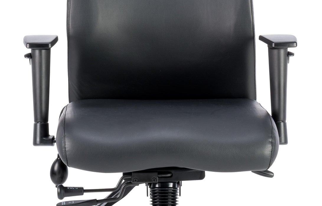 Onyx Ergo Posture Chair Black Bonded Leather Without Headrest With Arms
