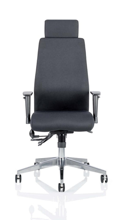 Onyx Ergo Posture Chair Black Fabric With Headrest With Arms