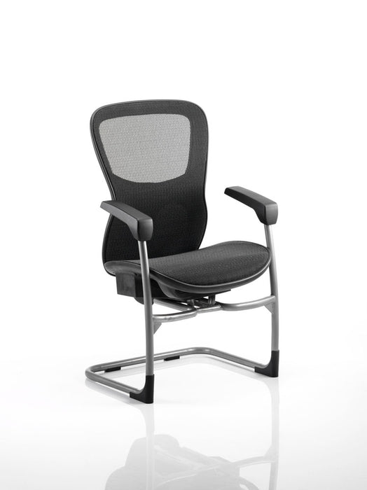 Stealth Shadow Ergo Posture Visitor Black Cantilever Chair Seat And Mesh Back With Arms