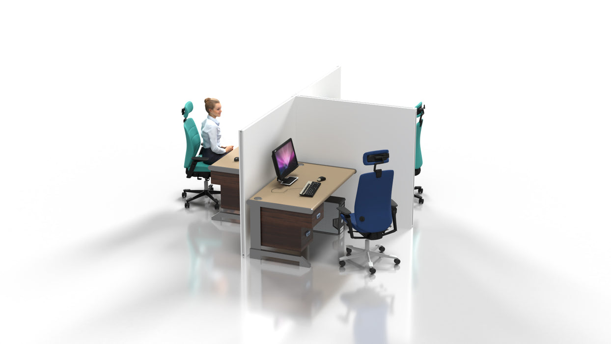 T Shaped Fabric Desk Partition