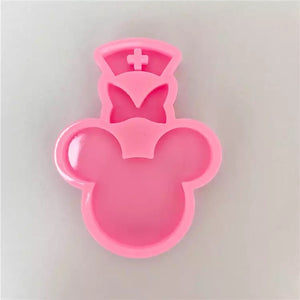 Mouse head with bow and nurse hat Keychain mould