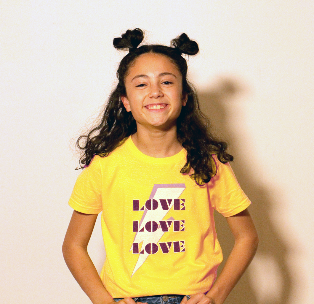 Love Love Love Kids Tee in Yellow