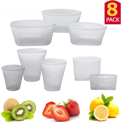 Silicone Food Storage Set Fresh Bowl Cup Bag Reusable 8pcs
