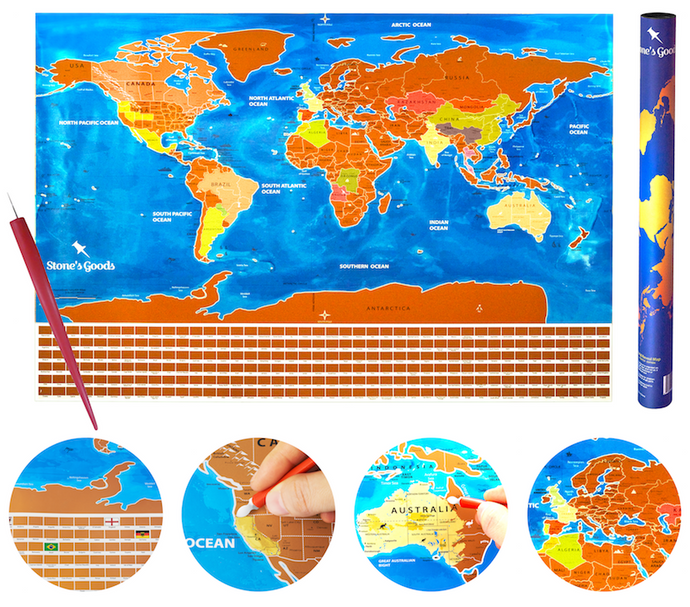 Scratch off World Map: Unique Blue Map, Perfect for a Traveler, Looks Great in Your Home, Keeps You Inspired, Educate Children in Geography, Travel like a Pro with E-Book and Country Flags
