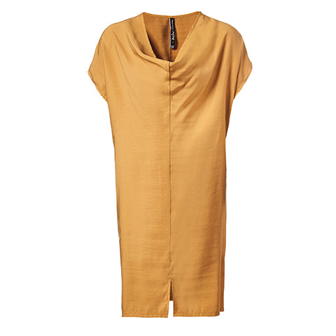 Robe tunique ample à encolure drapée ambre