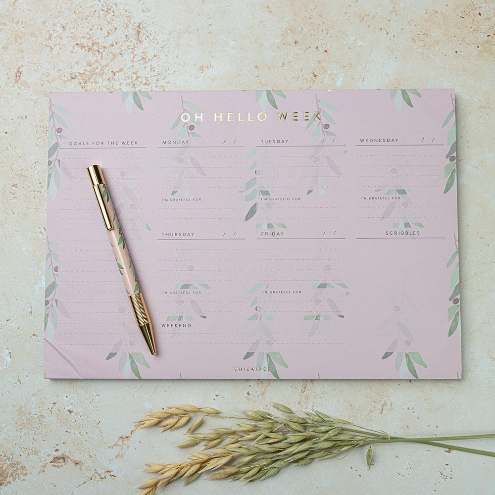 A4 Olive Oh Hello Week Desk Pad