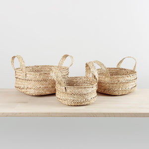 Low Seagrass Basket with Handles Small