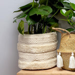 White Tassel Laundry Basket