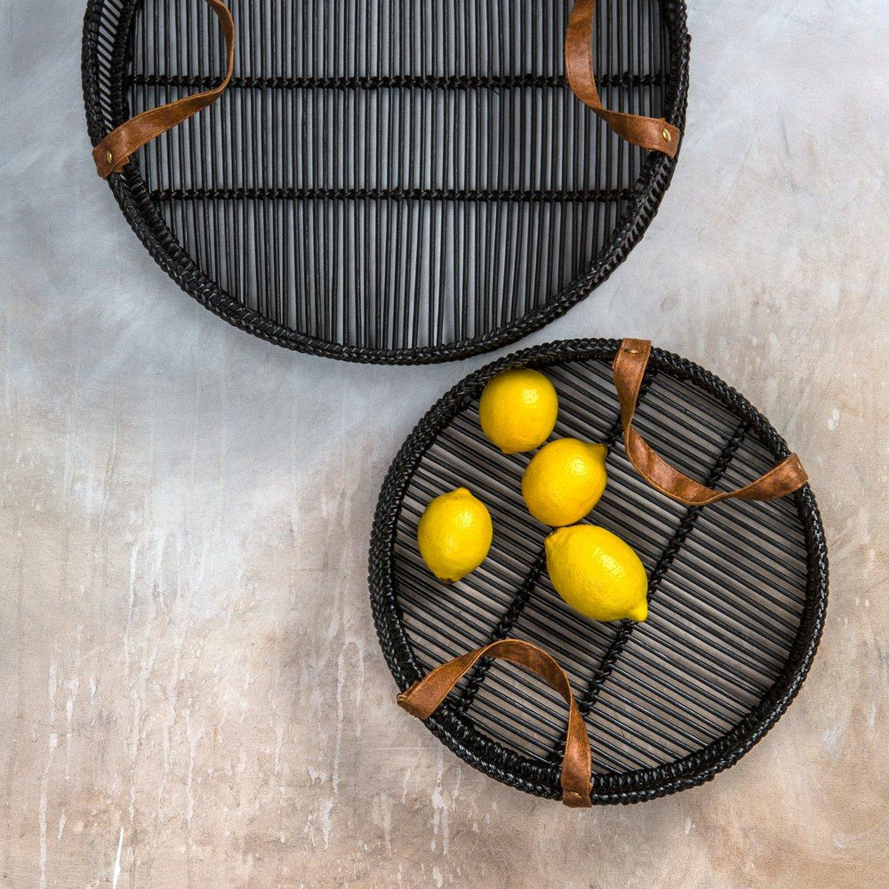 Zulu Bamboo Trays (Set of 2) Black
