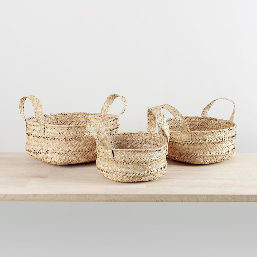 Low Seagrass Basket with Handles Medium