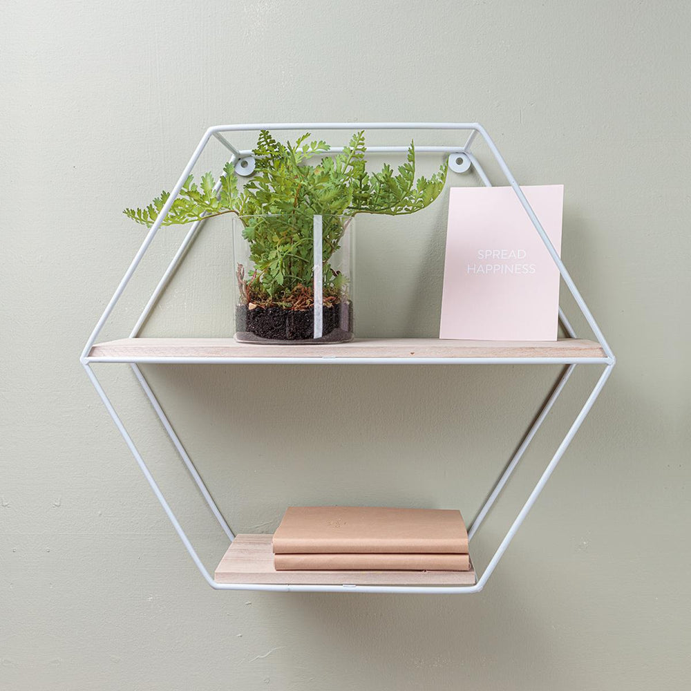 White Wire Hexagon Shelf