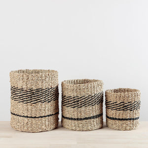 Black Seagrass Stripe Basket Large