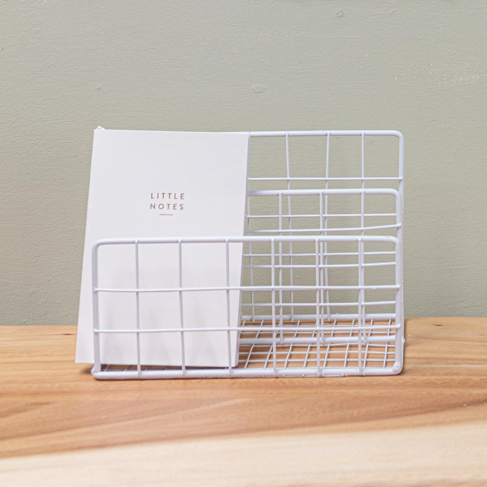 White Wire Letter Rack