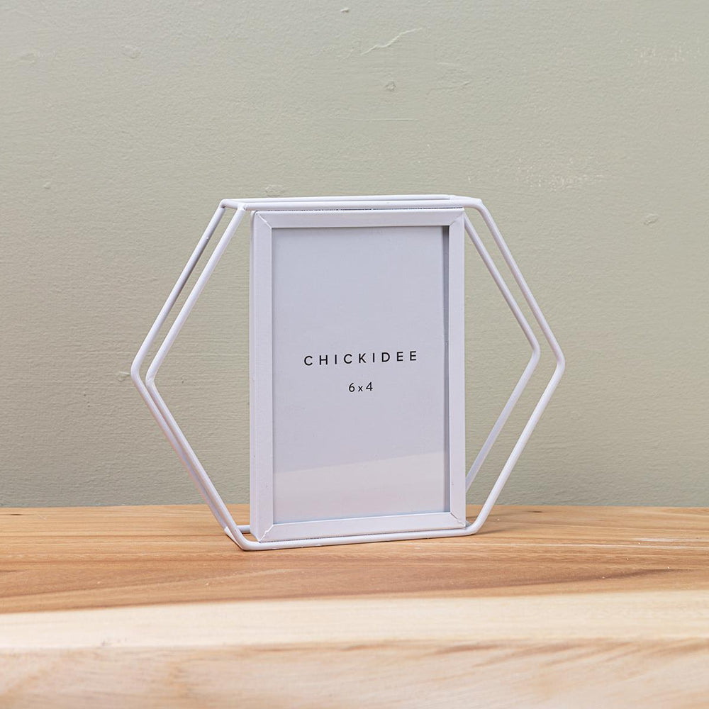 White Hexagonal 4 x 6 Frame