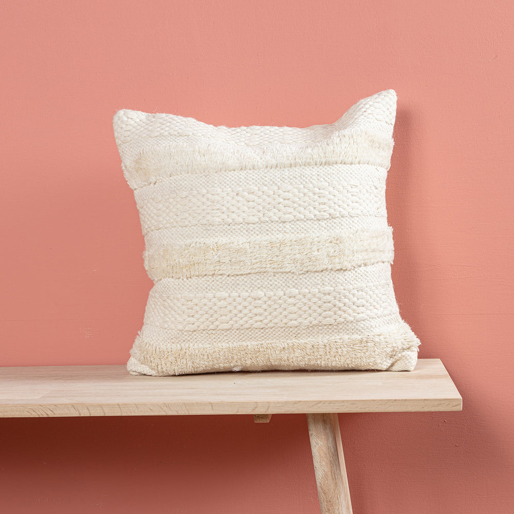 White Tassel Square Cushion
