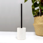 White Terazzo Toilet Brush Holder and Brush