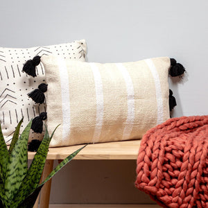 White Medina Cushion with Tassels