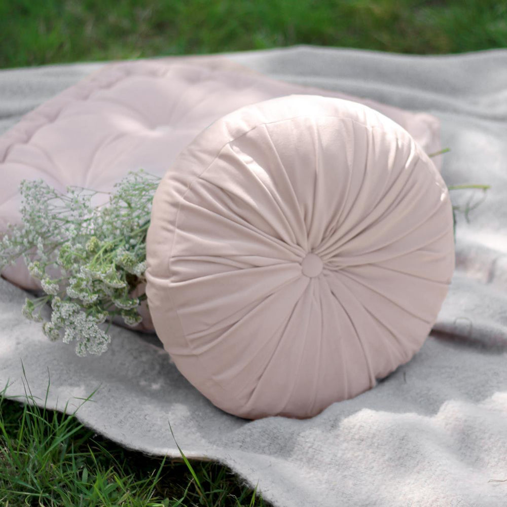 Blush Pink Round Pintuck Cushion