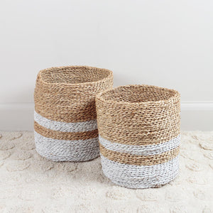 White Seagrass Stripe Basket Large