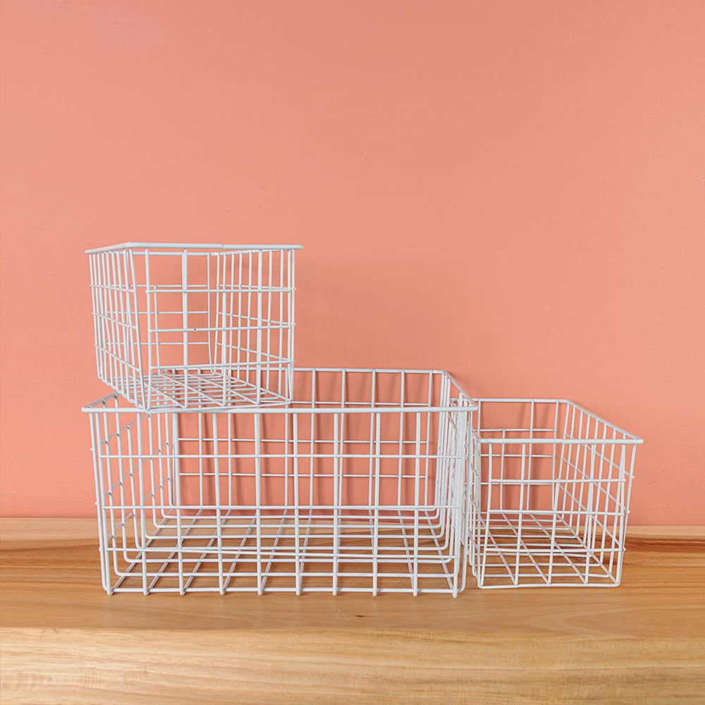 White Wire Basket - Set of 3