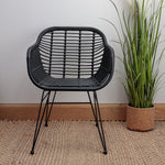 Natural Rattan Black Tub Chair