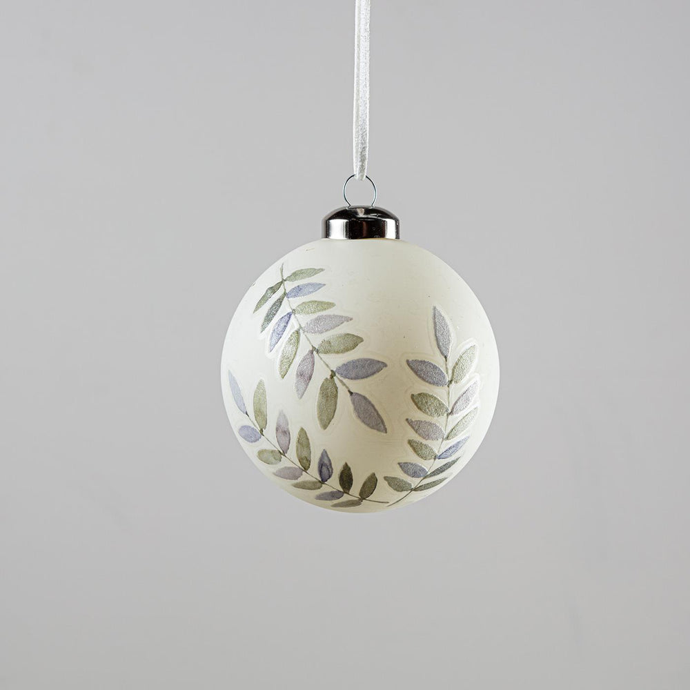 Bauble White With Branches Green