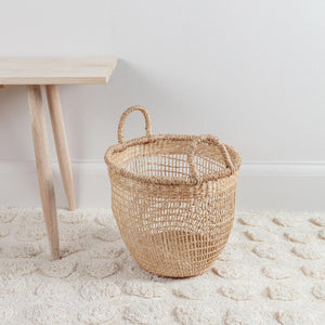 Woven Seagrass Basket with Handles Small