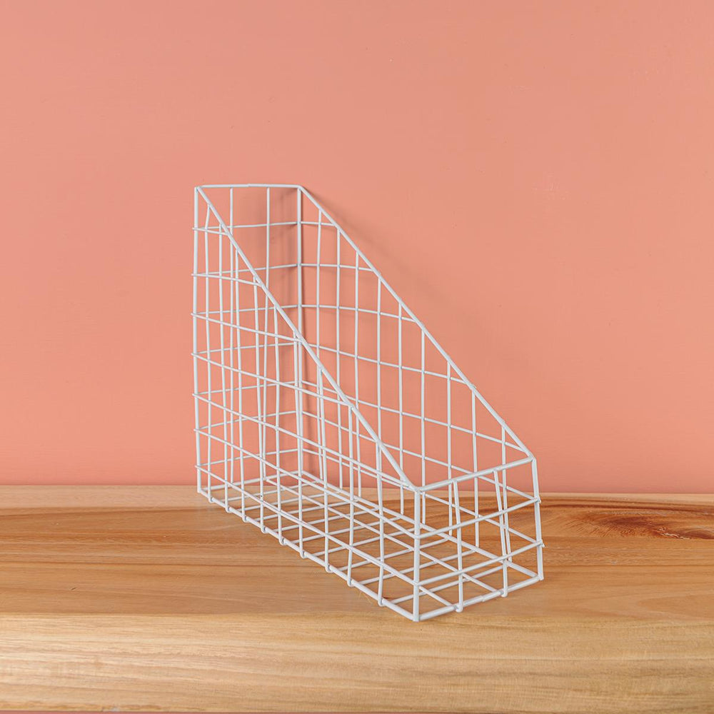 White Wire Desk Organiser