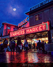 Load image into Gallery viewer, Pike Place Market in the evening - Seattle, WA.