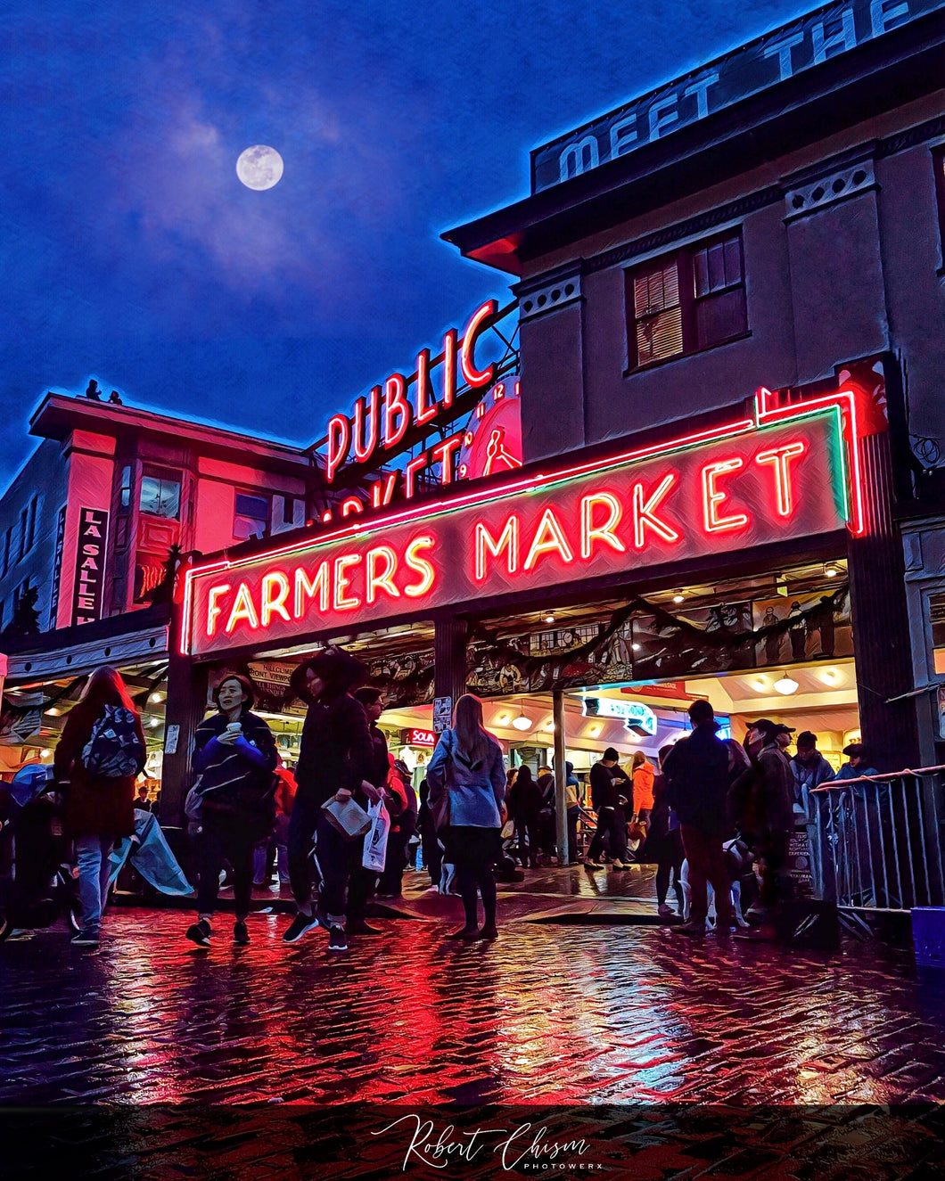 Pike Place Market in the evening - Seattle, WA.