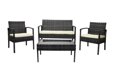 Rattan Miami  - 4pc Set Marbled Black (Free Shipping)